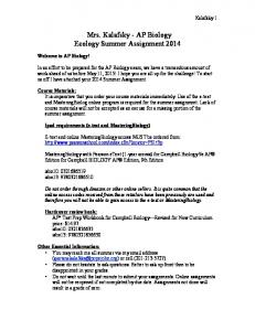 Mrs. Kalafsky - AP Biology Ecology Summer Assignment 2014