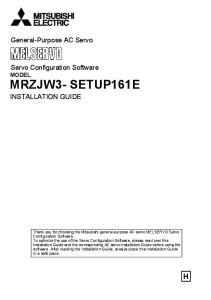 MRZJW3- SETUP161E. General-Purpose AC Servo. Servo Configuration Software MODEL INSTALLATION GUIDE