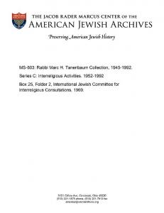MS-603: Rabbi Marc H. Tanenbaum Collection,