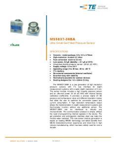 MS BA. Ultra Small Gel Filled Pressure Sensor SPECIFICATIONS