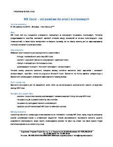 MS Excel od podstaw do analiz biznesowych