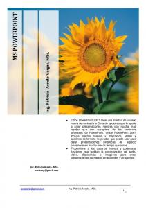 MS POWERPOINT. Ing. Patricia Acosta Vargas, MSc. MS POWERPOINT 2007