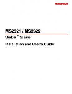 MS2322. StratosH Scanner. Installation and User s Guide