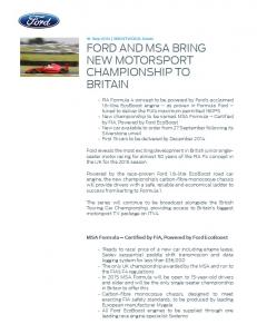 MSA Formula Certified by FIA, Powered by Ford EcoBoost