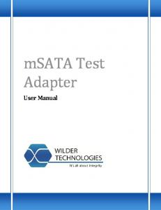 msata Test Adapter User Manual
