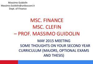 MSC. FINANCE MSC. CLEFIN PROF. MASSIMO GUIDOLIN