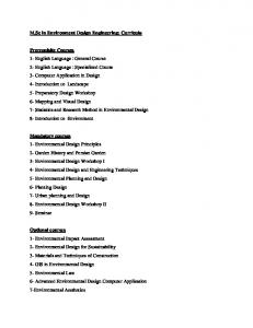 M.Sc in Environment Design Engineering: Curricula