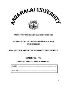 M.Sc (INFORMATION TECHNOLOGY) INTEGRATED