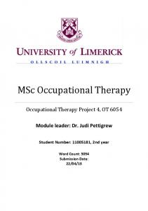MSc Occupational Therapy