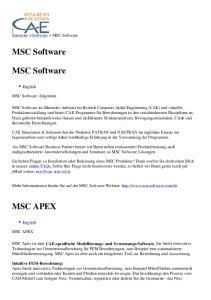 MSC Software. MSC Software MSC APEX. Startseite > Software > MSC Software. English. MSC Software Allgemein