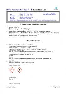MSDS Material Safety Data Sheet Hydrochloric Acid