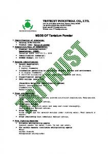 MSDS OF Tantalum Powder