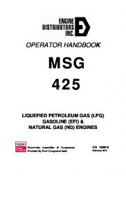 MSG 425 LIQUEFIED PETROLEUM GAS (LPG) GASOLINE (EFI) & NATURAL GAS (NG) ENGINES