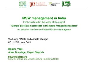 MSW management in India