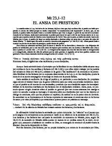 Mt 23,1-12 EL ANSIA DE PRESTIGIO
