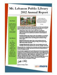 Mt. Lebanon Public Library 2012 Annual Report