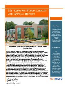 MT. LEBANON PUBLIC LIBRARY 2013 ANNUAL REPORT