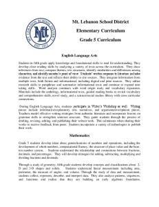 Mt. Lebanon School District Elementary Curriculum Grade 5 Curriculum
