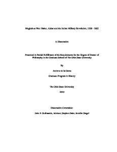 Mughals at War: Babur, Akbar and the Indian Military Revolution, A Dissertation