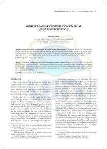 MUHAJIRIN AMSAR CONTRIBUTION ON LEGAL HADÎTS INTERPRETATION