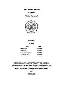 MUHAMMADIYAH UNIVERSITY OF METRO TEACHER TRAINING AND EDUCATION FACULTY ENGLISH EDUCATION STUDY PROGRAM 2013