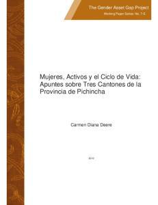 Mujeres, Activos y el Ciclo de Vida: Apuntes sobre Tres Cantones de la Provincia de Pichincha