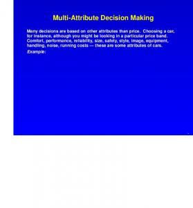 Multi-Attribute Decision Making