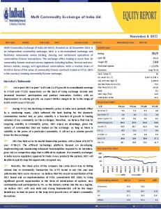 Multi Commodity Exchange of India Ltd. BUY. November 8, Investor s Rationale