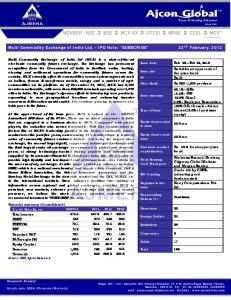 Multi Commodity Exchange of India Ltd. - IPO Note: SUBSCRIBE 22 nd February, 2012