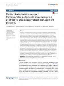 Multi criteria decision support framework for sustainable implementation of effective green supply chain management practices