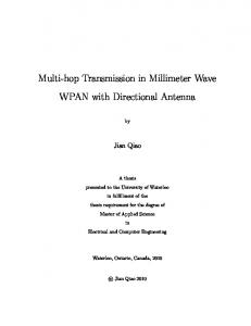 Multi-hop Transmission in Millimeter Wave WPAN with Directional Antenna