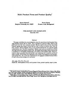 Multi-Product Firms and Product Quality