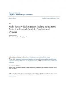 Multi-Sensory Techniques in Spelling Instruction: An Action Research Study for Students with Dyslexia