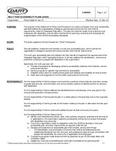 MULTI YEAR ACCESSIBILITY PLANS (AODA) Supersedes: Policy Dated 01-Jan-14 Effective Date: 01-Mar-15