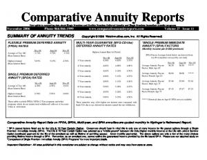 MULTI-YEAR GUARANTEE (MYG-CD-like) DEFERRED ANNUITY RATES. Highest Annual Rate for Period. Nov-06 Aug-06 Nov-05 3-Year annuity 4.38% 4.85% 3