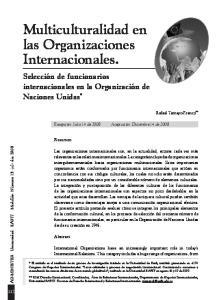 Multiculturalidad en las Organizaciones Internacionales