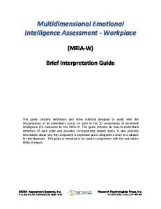 Multidimensional Emotional Intelligence Assessment - Workplace
