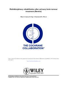 Multidisciplinary rehabilitation after primary brain tumour treatment (Review)