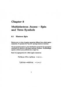 Multielectron Atoms Spin and Term Symbols