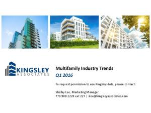 Multifamily Industry Trends Q1 2016