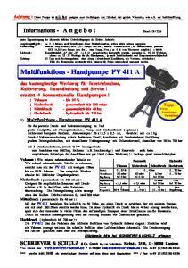 Multifunktions - Handpumpe PV 411 A