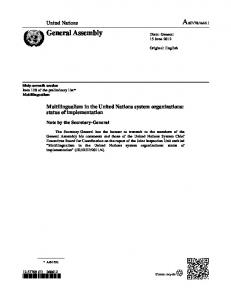 Multilingualism in the United Nations system organizations: status of implementation