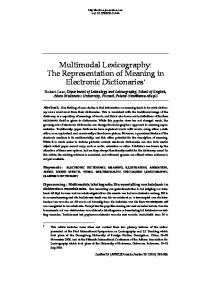 Multimodal Lexicography: The Representation of Meaning in Electronic Dictionaries *
