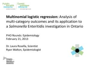 Multinomial logistic regression: Analysis of multi-category outcomes and its application to a Salmonella Enteritidis investigation in Ontario
