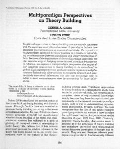Multiparadigm Perspectives on Theory Building