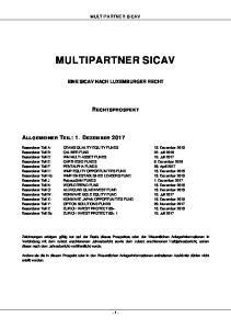 MULTIPARTNER SICAV MULTIPARTNER SICAV EINE SICAV NACH LUXEMBURGER RECHT