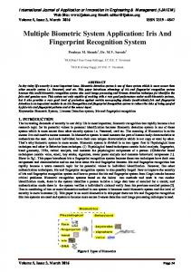 Multiple Biometric System Application: Iris And Fingerprint Recognition System