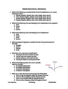 Multiple Choice Review Classification