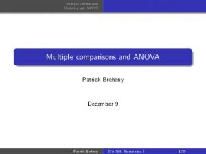 Multiple comparisons and ANOVA