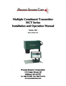 Multiple Constituent Transmitter MCT Series Installation and Operation Manual